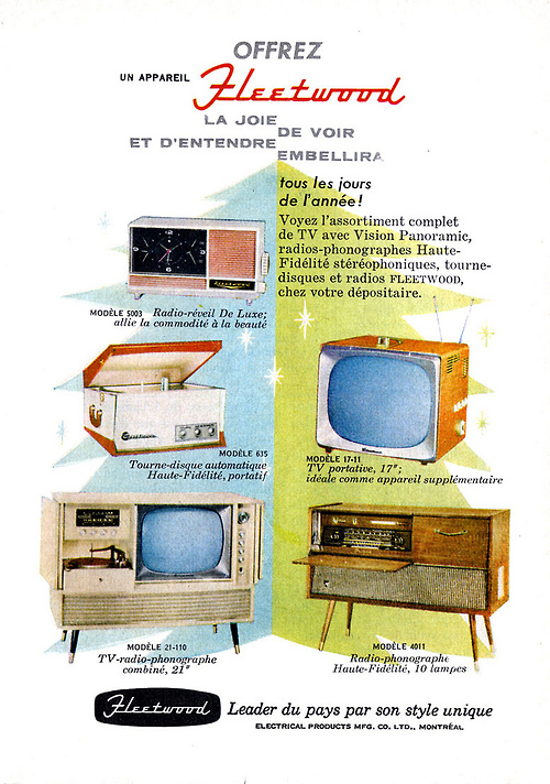 Fleetwood televisions and radiograms, 1958.