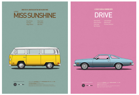 Posters of Famous Movie Cars by Jesús Prudencio x2