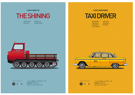 Posters of Famous Movie Cars by Jesús Prudencio x3