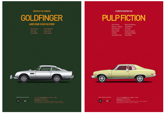 Posters of Famous Movie Cars by Jesús Prudencio x4