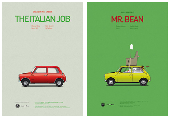 Posters of Famous Movie Cars by Jesús Prudencio x5
