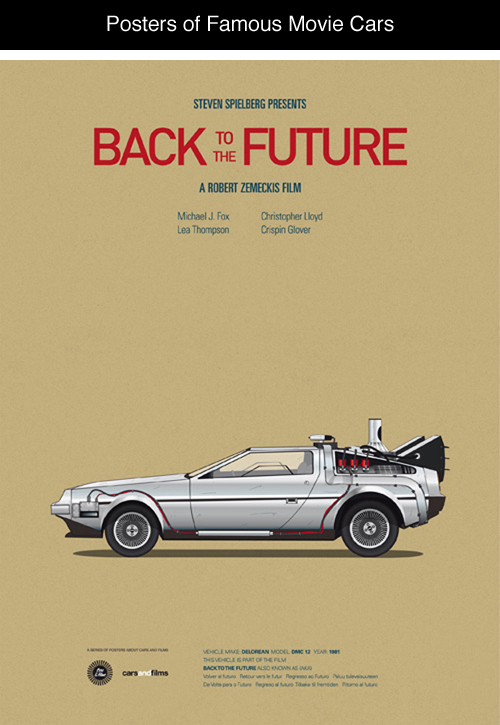 Posters of Famous Movie Cars by Jesús Prudencio x6