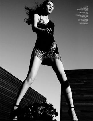 Liu Wen in Savage Grace for Vogue China, December 2013